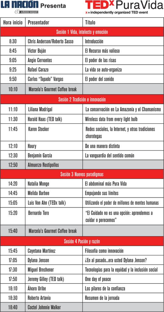 Programa TEDxPuraVida 2012