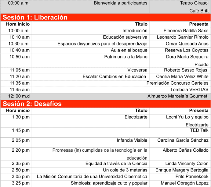 Programa TEDxPuraVidaED 2012